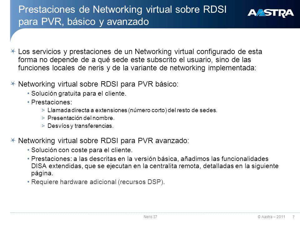 Prestaciones de Networking virtual sobre RDSI para PVR, básico y avanzado