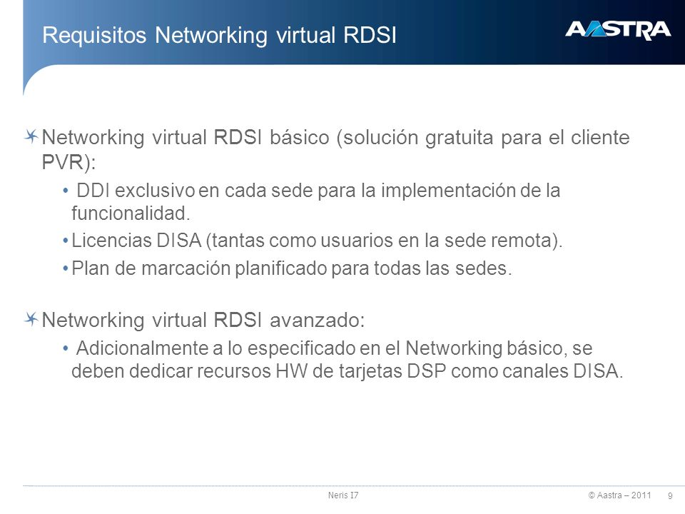 Requisitos Networking virtual RDSI