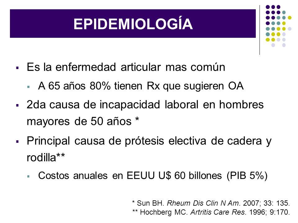EPIDEMIOLOGÍA Es la enfermedad articular mas común