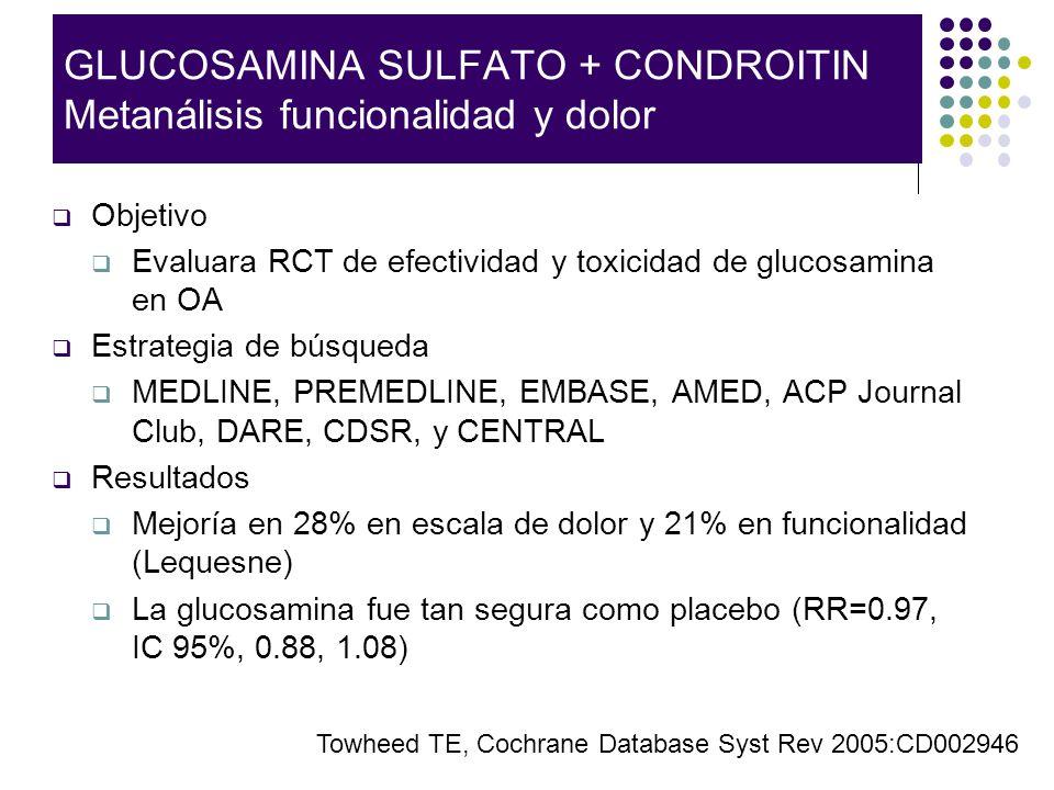 GLUCOSAMINA SULFATO + CONDROITIN Metanálisis funcionalidad y dolor