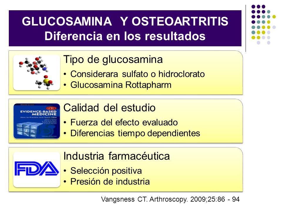 GLUCOSAMINA Y OSTEOARTRITIS Diferencia en los resultados