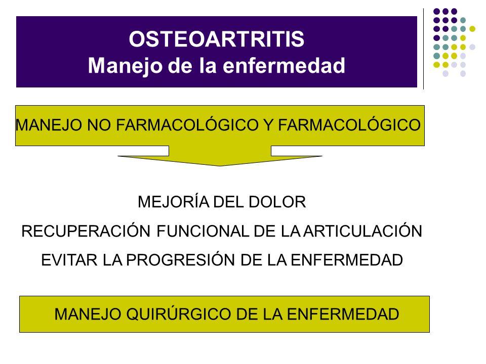 OSTEOARTRITIS Manejo de la enfermedad