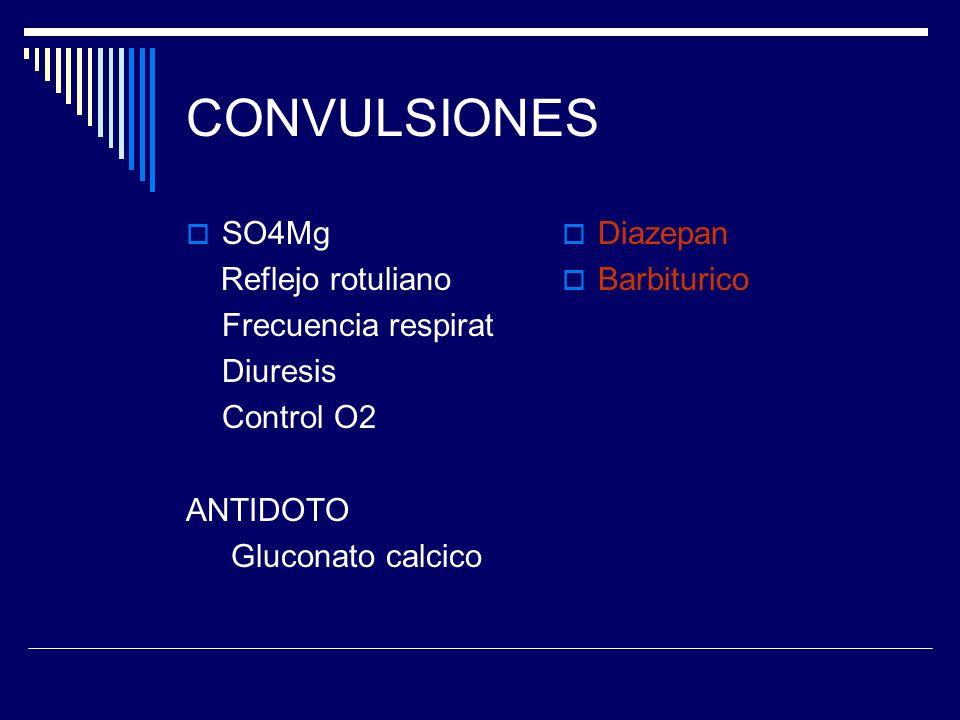 CONVULSIONES SO4Mg Reflejo rotuliano Frecuencia respirat Diuresis