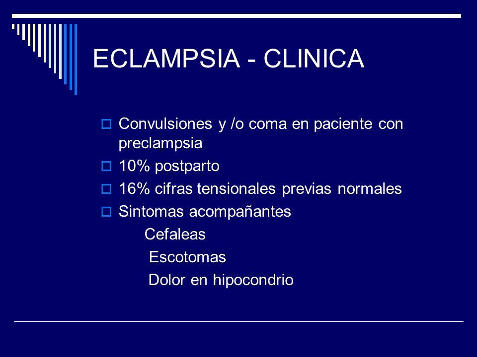 ECLAMPSIA - CLINICA Convulsiones y /o coma en paciente con preclampsia