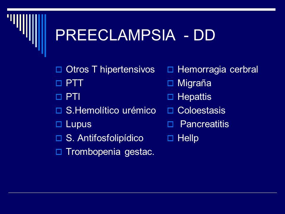 PREECLAMPSIA - DD Otros T hipertensivos PTT PTI S.Hemolítico urémico