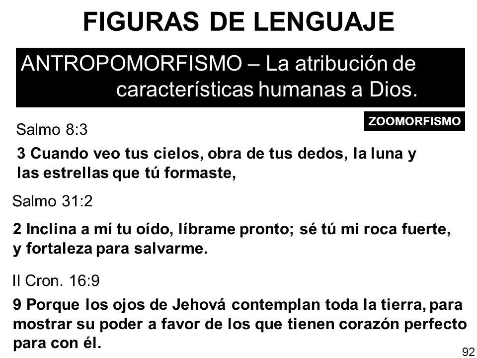 FIGURAS DE LENGUAJEANTROPOMORFISMO – La atribución de características humanas a Dios. ZOOMORFISMO.