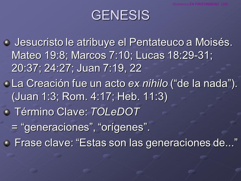 GENESISJesucristo le atribuye el Pentateuco a Moisés. Mateo 19:8; Marcos 7:10; Lucas 18:29-31; 20:37; 24:27; Juan 7:19, 22.