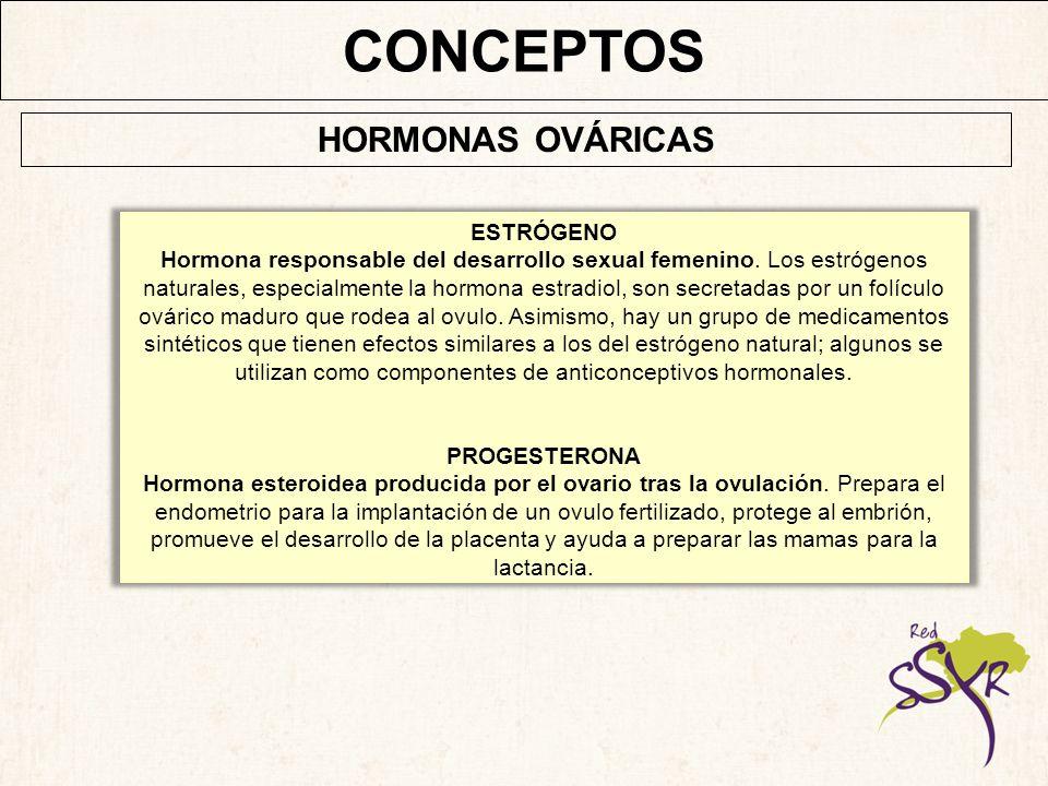 CONCEPTOS HORMONAS OVÁRICAS ESTRÓGENO
