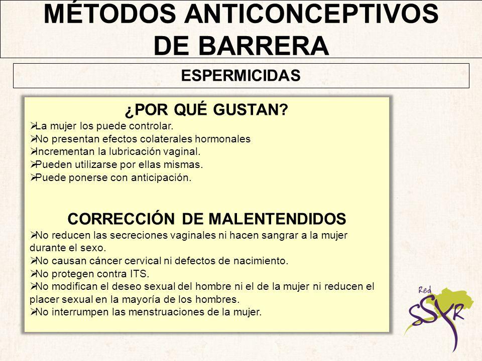MÉTODOS ANTICONCEPTIVOS CORRECCIÓN DE MALENTENDIDOS