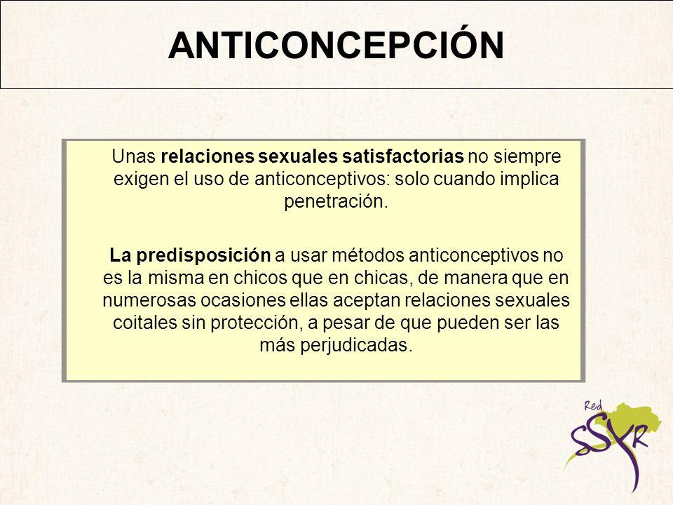 ANTICONCEPCIÓNUnas relaciones sexuales satisfactorias no siempre exigen el uso de anticonceptivos: solo cuando implica penetración.