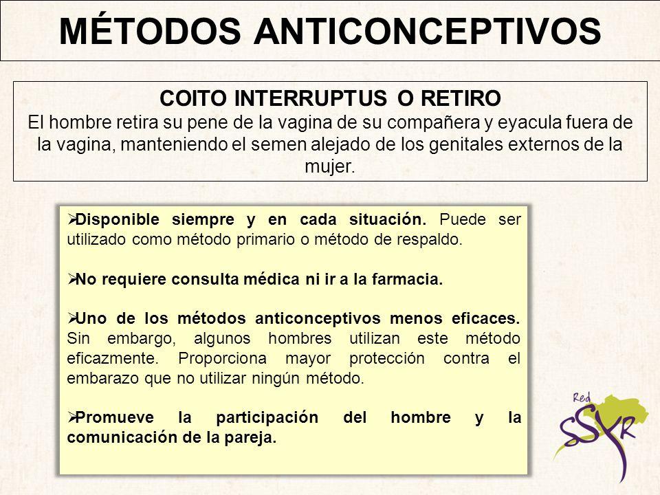 MÉTODOS ANTICONCEPTIVOS COITO INTERRUPTUS O RETIRO