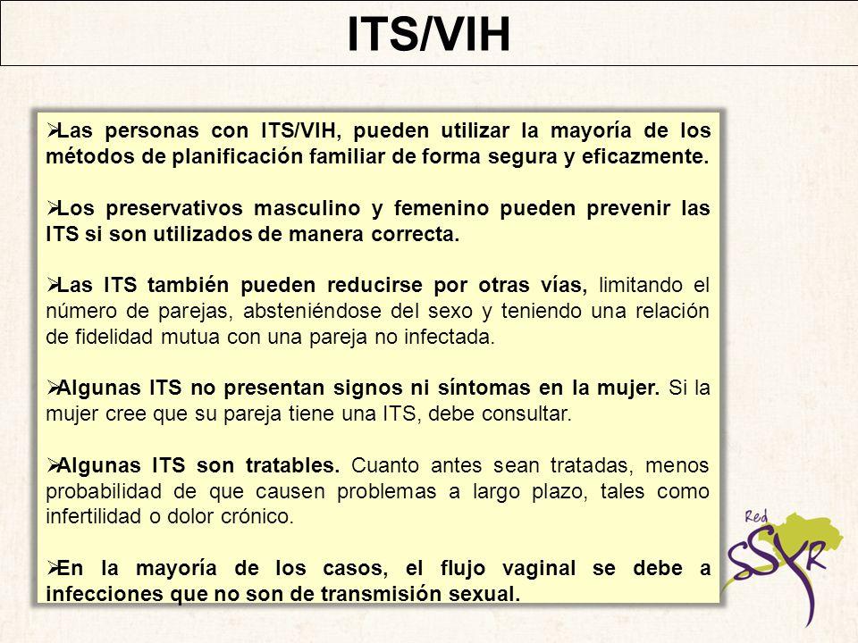 ITS/VIH Las personas con ITS/VIH, pueden utilizar la mayoría de los métodos de planificación familiar de forma segura y eficazmente.