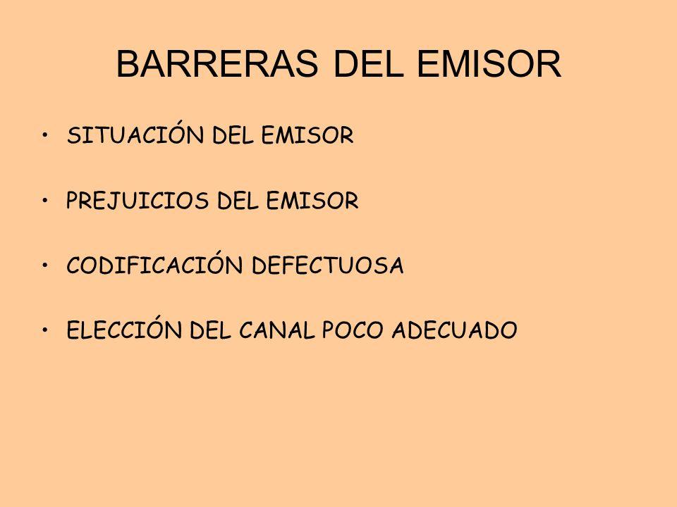 BARRERAS DEL EMISOR SITUACIÓN DEL EMISOR PREJUICIOS DEL EMISOR