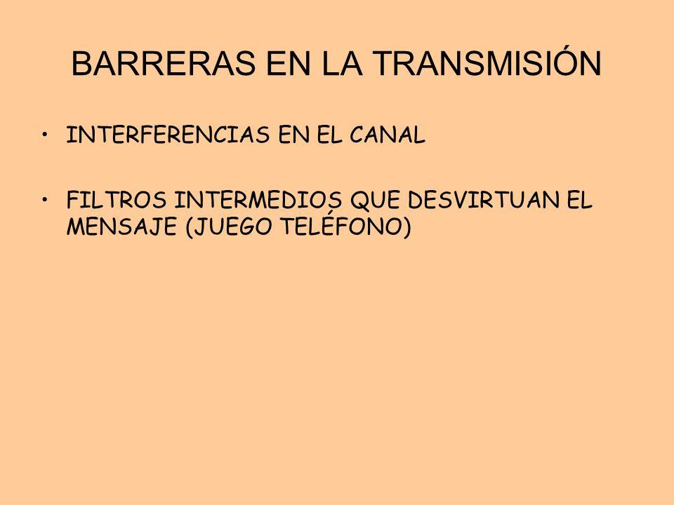 BARRERAS EN LA TRANSMISIÓN