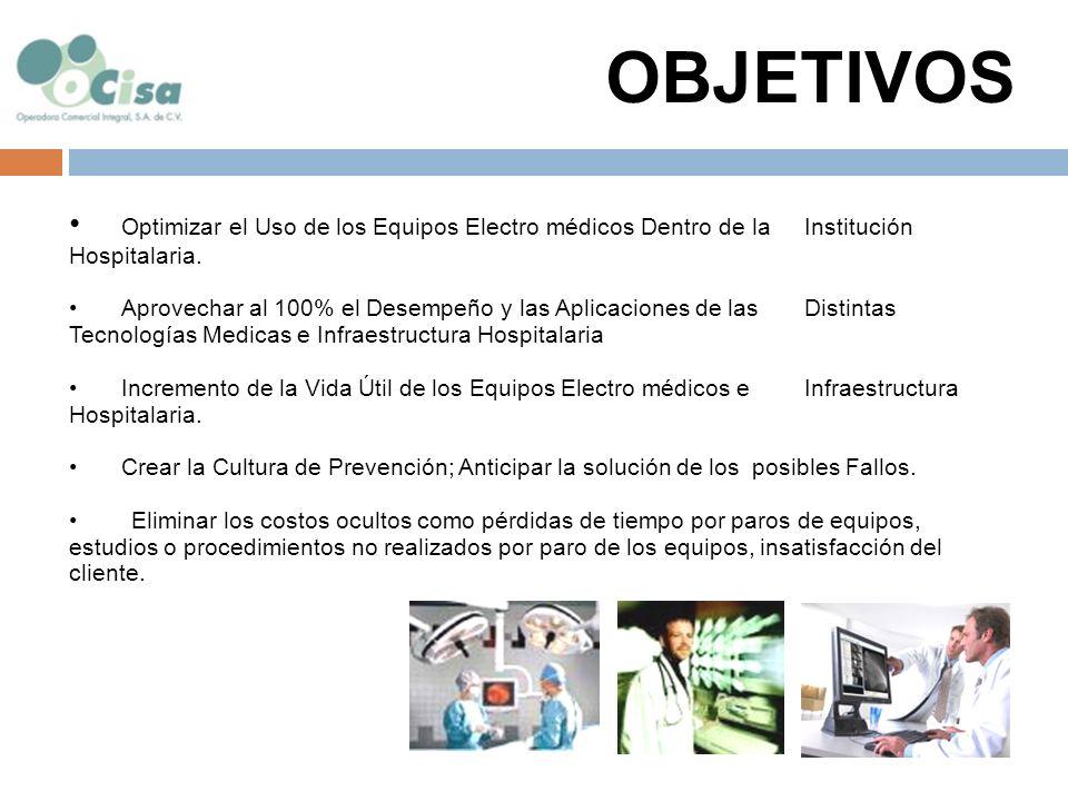 OBJETIVOS Optimizar el Uso de los Equipos Electro médicos Dentro de la Institución Hospitalaria.
