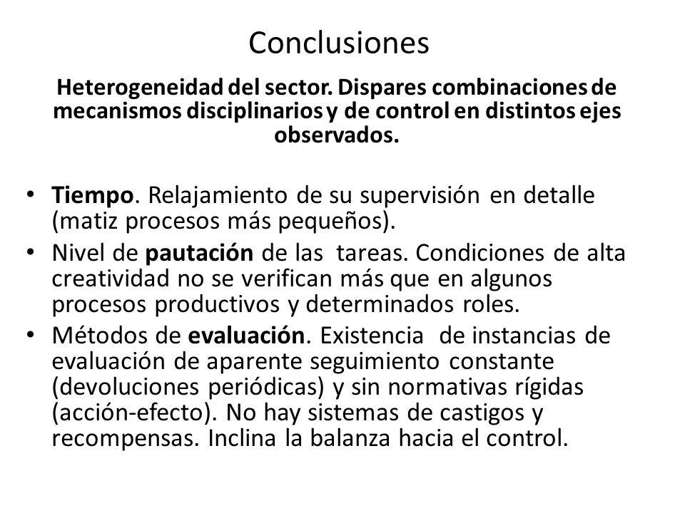 ConclusionesHeterogeneidad del sector. Dispares combinaciones de mecanismos disciplinarios y de control en distintos ejes observados.