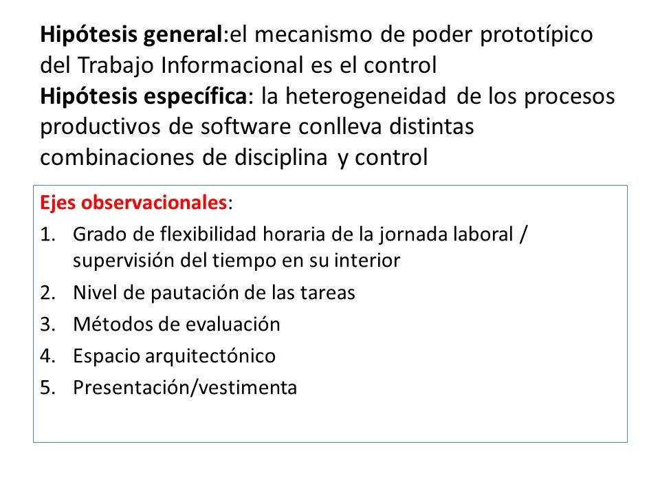 Hipótesis general:el mecanismo de poder prototípico del Trabajo Informacional es el control Hipótesis específica: la heterogeneidad de los procesos productivos de software conlleva distintas combinaciones de disciplina y control