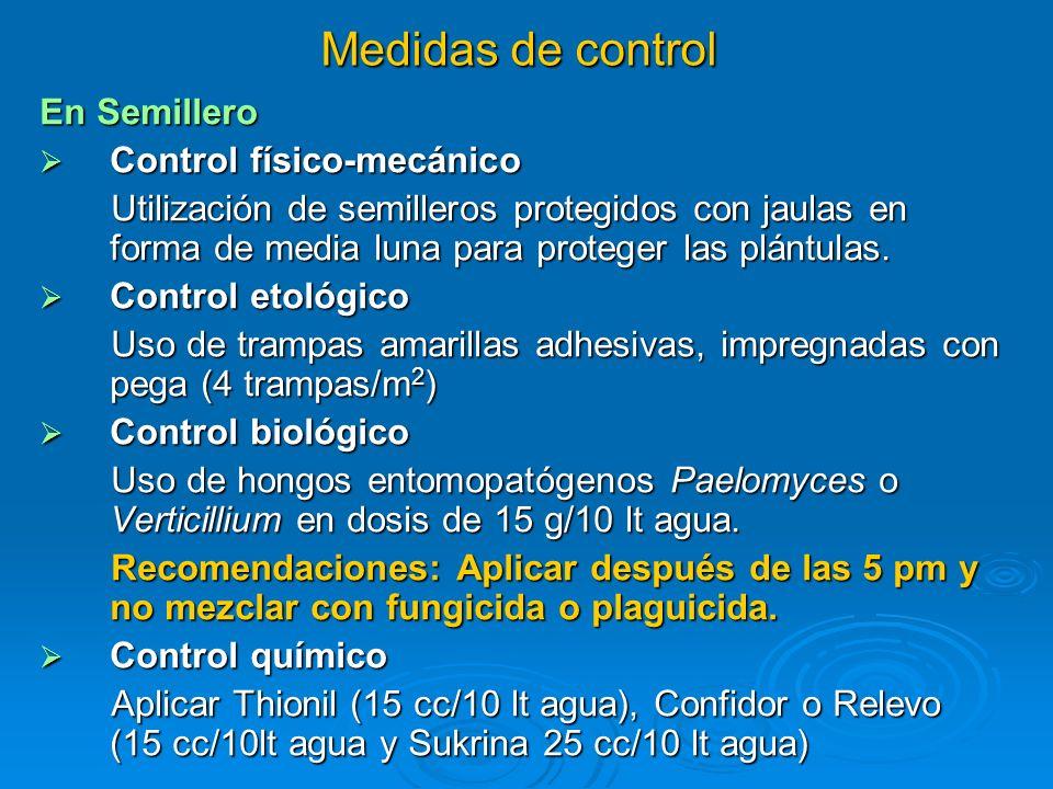 Medidas de control En Semillero Control físico-mecánico