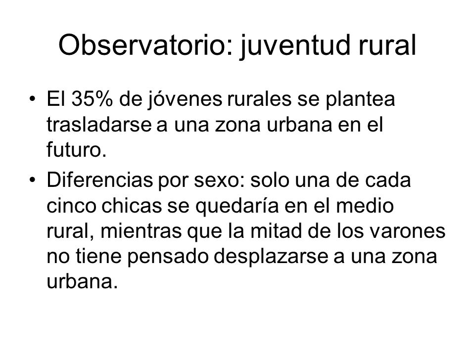 Observatorio: juventud rural