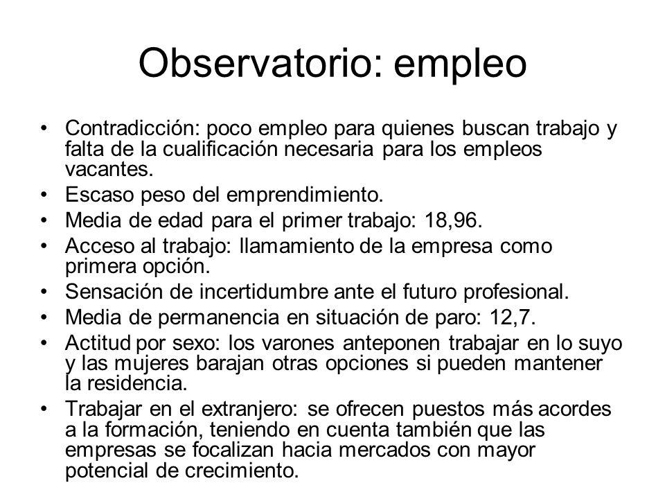 Observatorio: empleo Contradicción: poco empleo para quienes buscan trabajo y falta de la cualificación necesaria para los empleos vacantes.