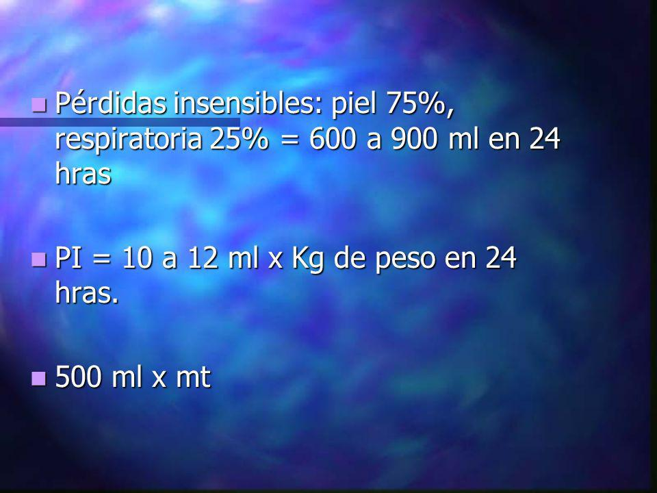 Pérdidas insensibles: piel 75%, respiratoria 25% = 600 a 900 ml en 24 hras