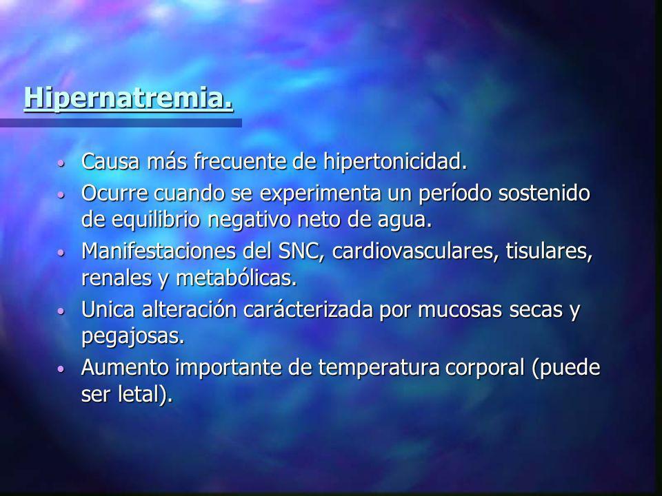 Hipernatremia. Causa más frecuente de hipertonicidad.