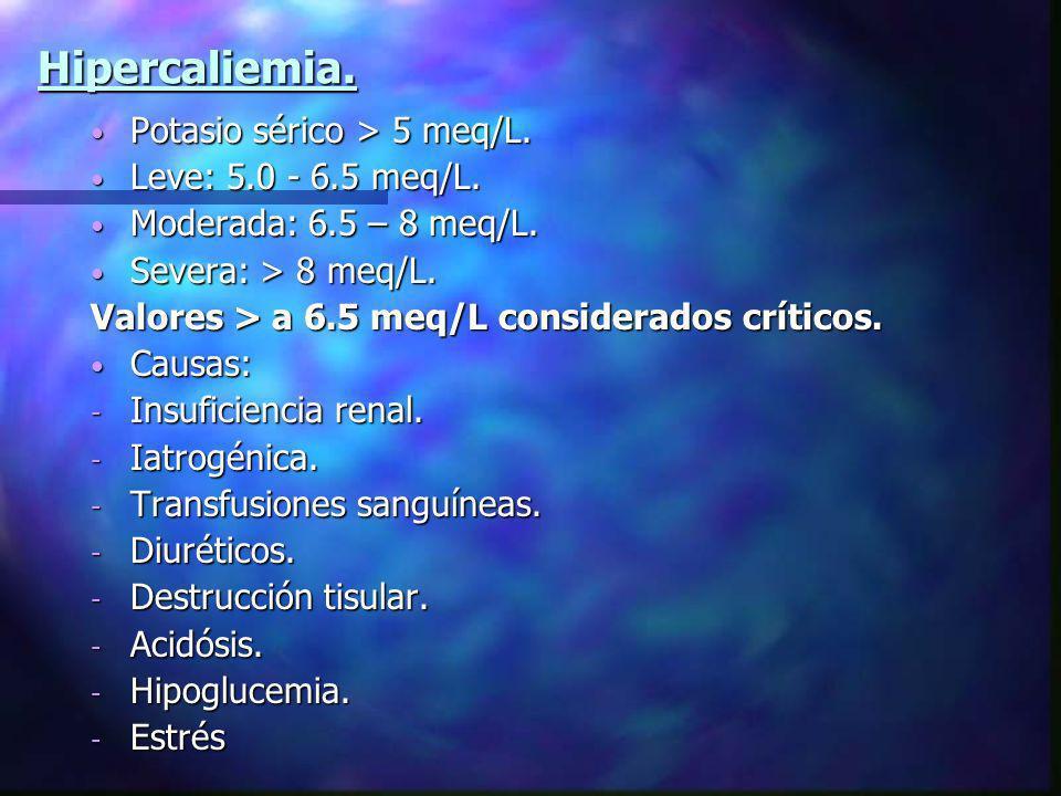 Hipercaliemia. Potasio sérico > 5 meq/L. Leve: 5.0 - 6.5 meq/L.