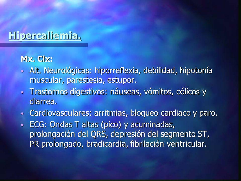 Hipercaliemia. Mx. Clx: Alt. Neurológicas: hiporreflexia, debilidad, hipotonía muscular, parestesia, estupor.
