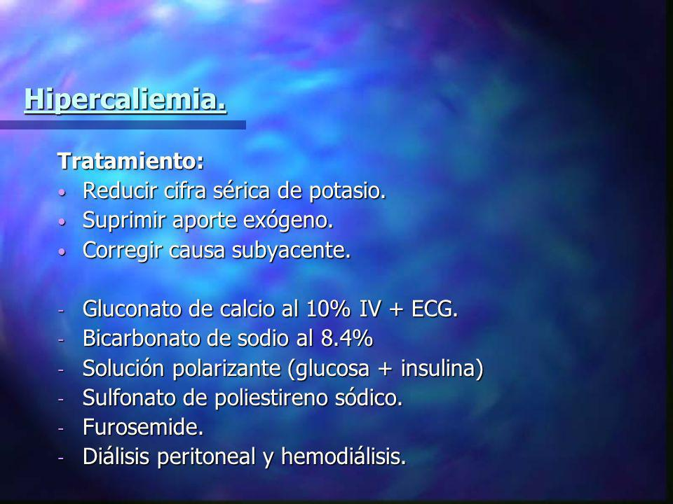 Hipercaliemia. Tratamiento: Reducir cifra sérica de potasio.