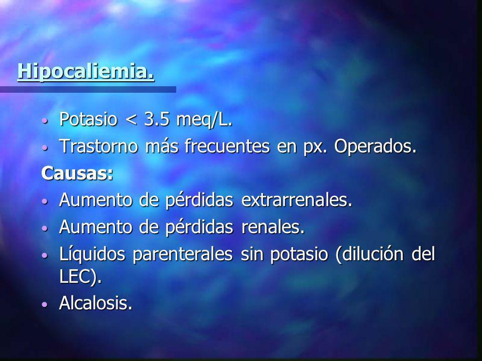 Hipocaliemia. Potasio < 3.5 meq/L.