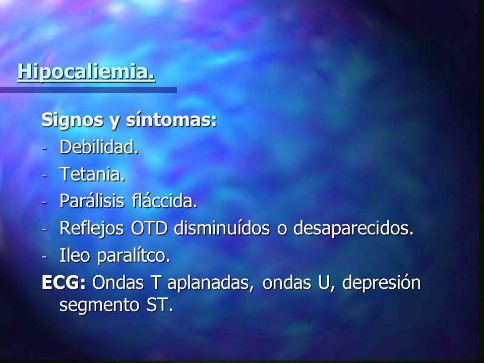 Hipocaliemia. Signos y síntomas: Debilidad. Tetania.