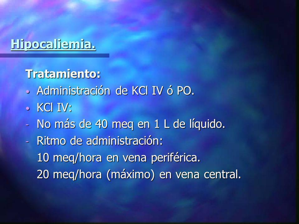 Hipocaliemia. Tratamiento: Administración de KCl IV ó PO. KCl IV: