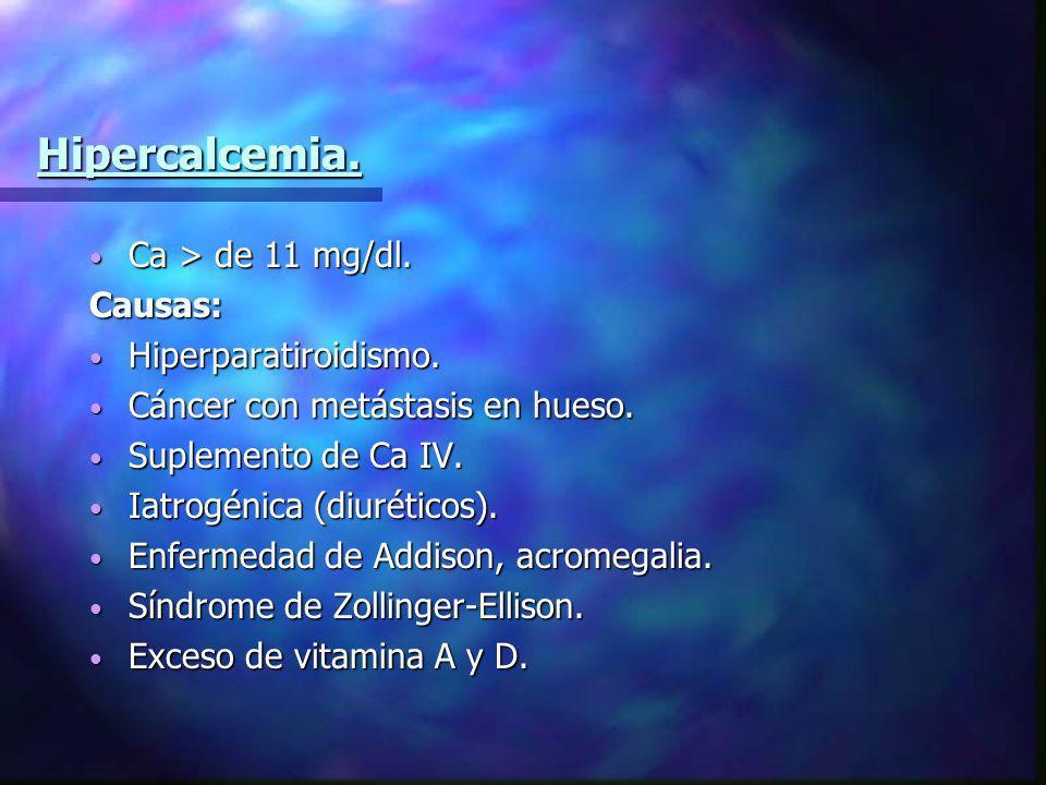 Hipercalcemia. Ca > de 11 mg/dl. Causas: Hiperparatiroidismo.