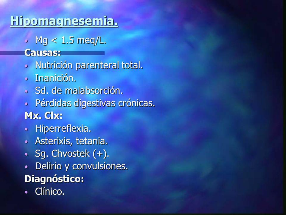 Hipomagnesemia. Mg < 1.5 meq/L. Causas: Nutrición parenteral total.