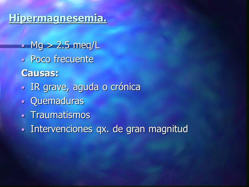 Hipermagnesemia. Mg > 2.5 meq/L Poco frecuente Causas: