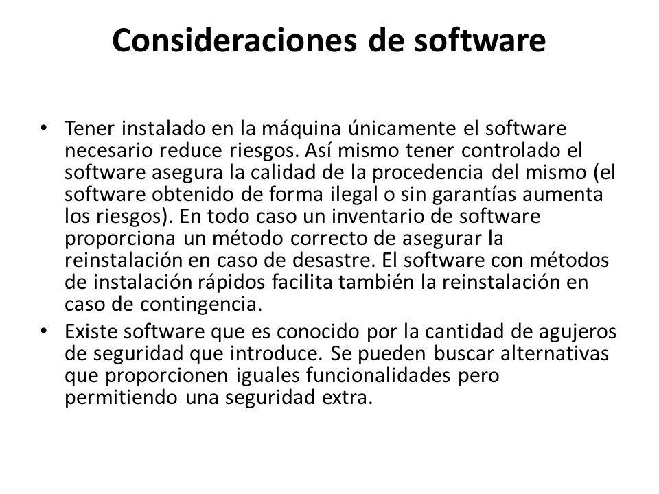 Consideraciones de software