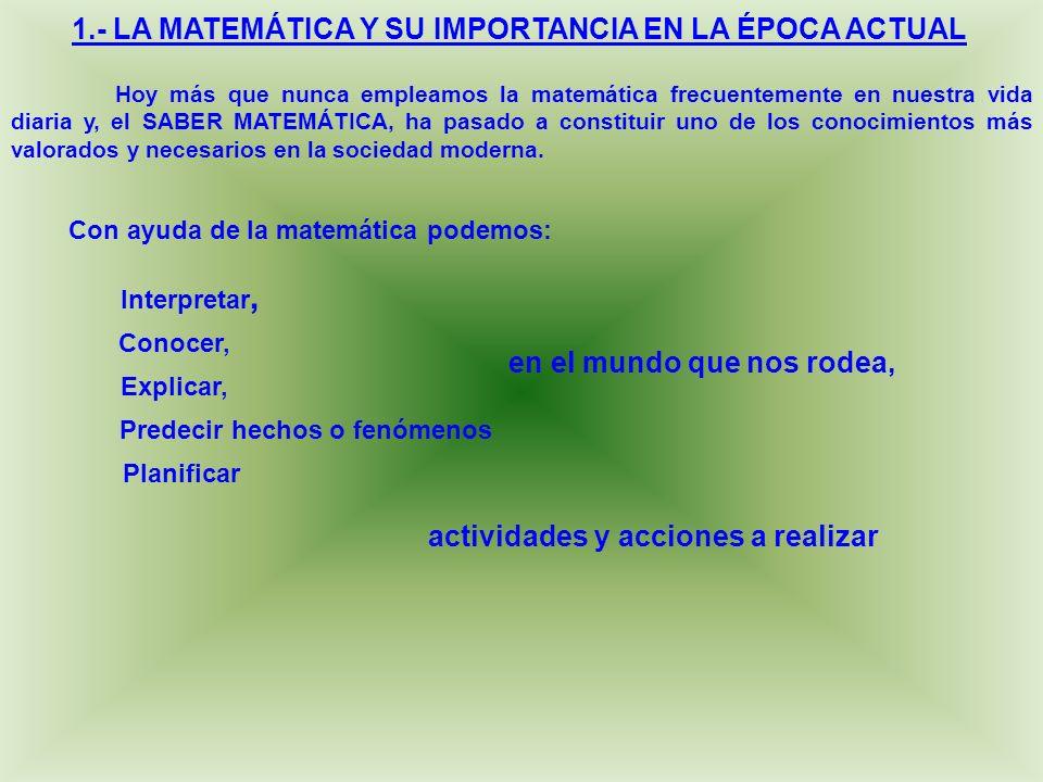 1.- LA MATEMÁTICA Y SU IMPORTANCIA EN LA ÉPOCA ACTUAL