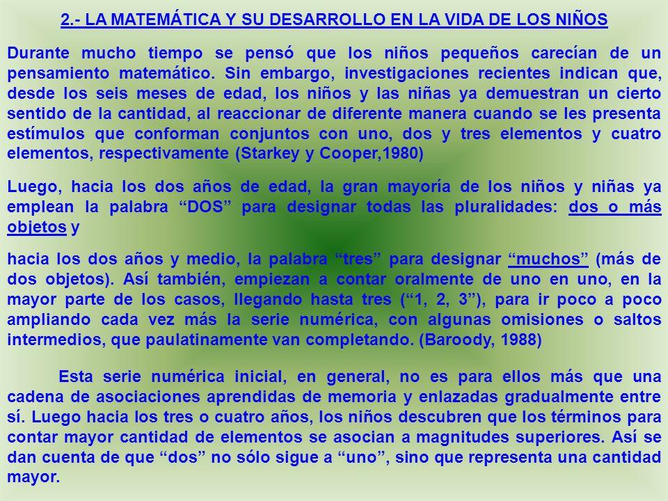 2.- LA MATEMÁTICA Y SU DESARROLLO EN LA VIDA DE LOS NIÑOS