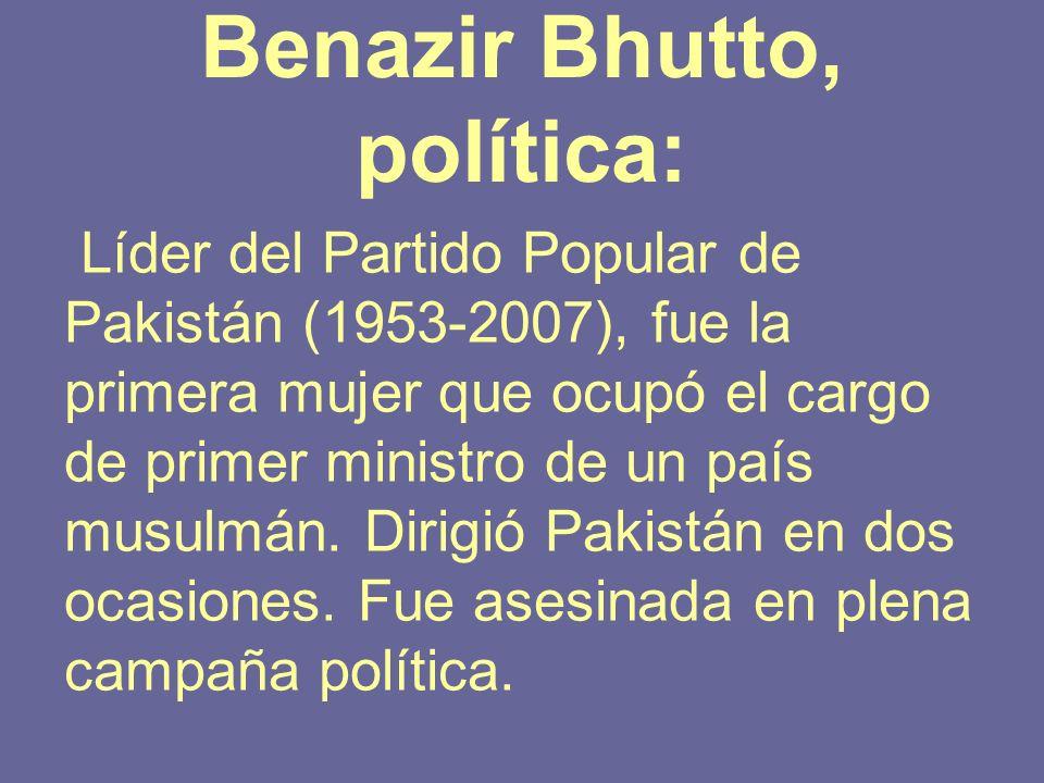 Benazir Bhutto, política: