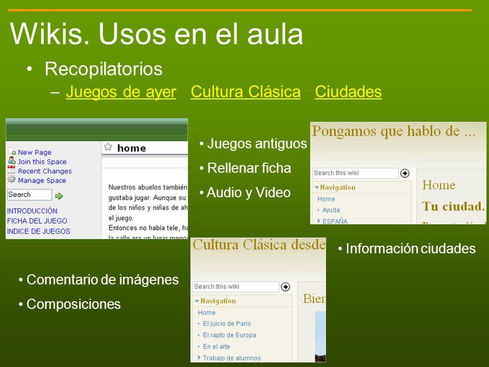 Wikis. Usos en el aula Recopilatorios
