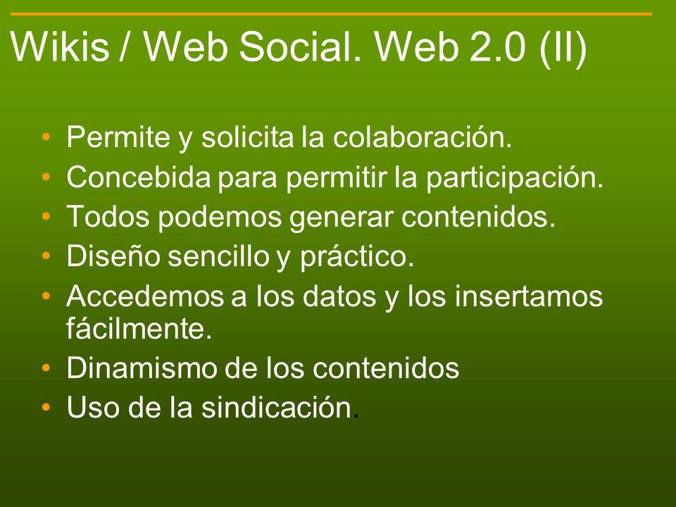 Wikis / Web Social. Web 2.0 (II)
