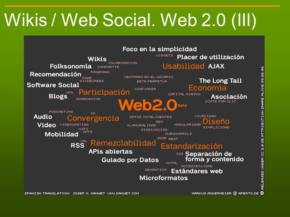 Wikis / Web Social. Web 2.0 (III)
