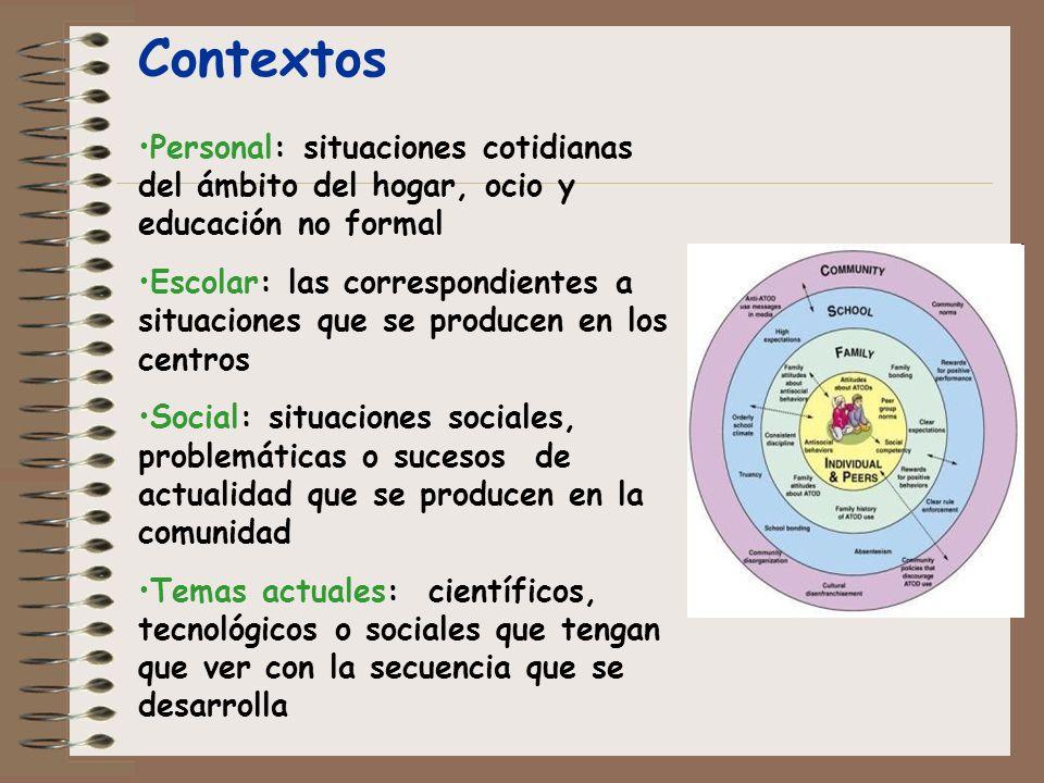Contextos Personal: situaciones cotidianas del ámbito del hogar, ocio y educación no formal.