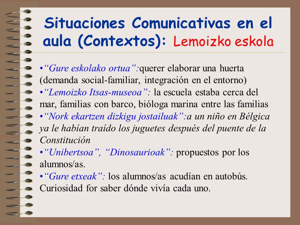 Situaciones Comunicativas en el aula (Contextos): Lemoizko eskola