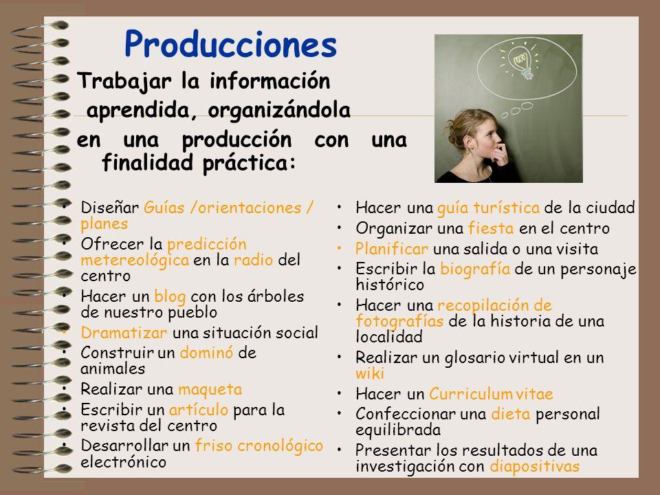Producciones Trabajar la información aprendida, organizándola