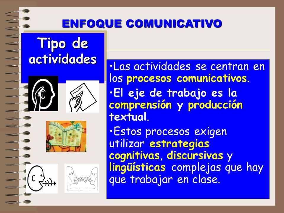 Tipo de actividades ENFOQUE COMUNICATIVO