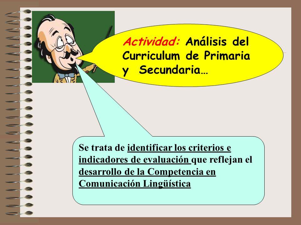 Actividad: Análisis del Curriculum de Primaria y Secundaria…