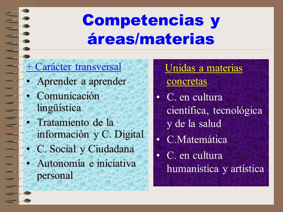 Competencias y áreas/materias