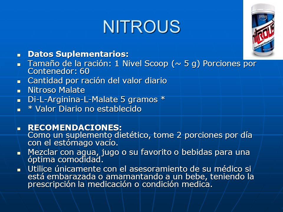 NITROUS Datos Suplementarios: