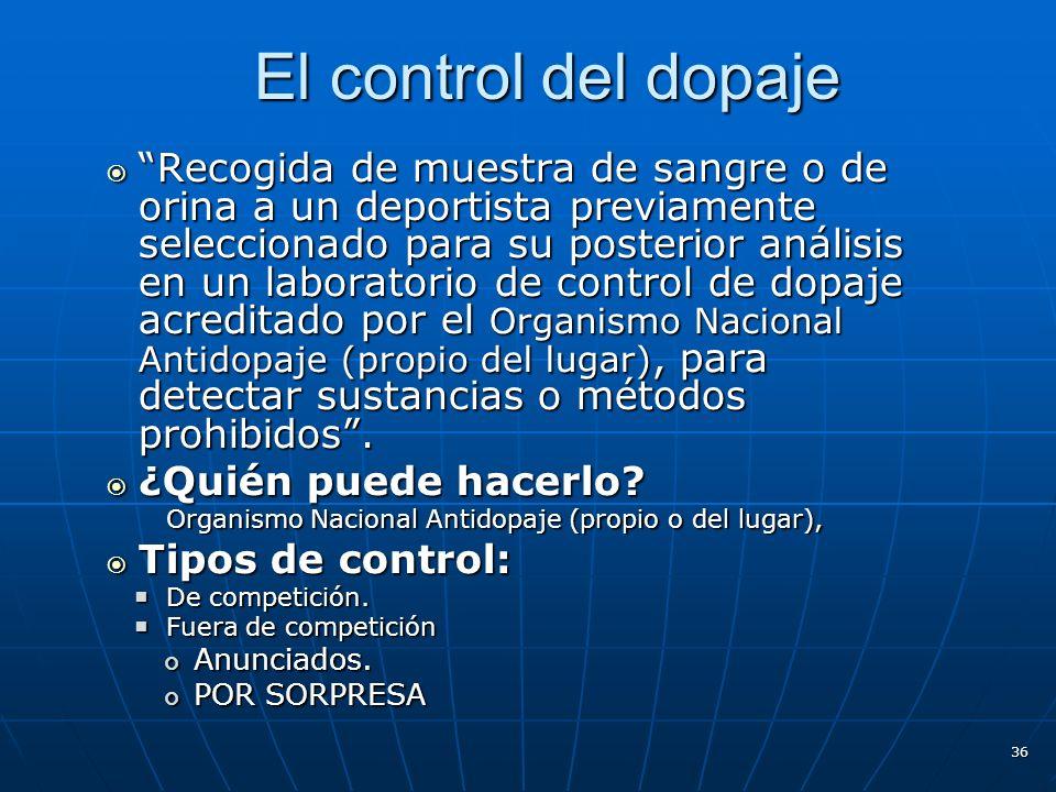 El control del dopaje